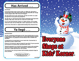 Photo of the Bi-Lingual Kids' Korner Gift Shoppes Watch For Flyer, which is given to each student in the school.
