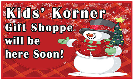 Photo of large cloth Kids' Korner Gift Shoppes coming soon Banner